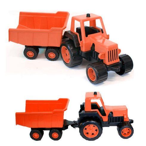 Műanyag traktor utánfutóval 68 cm